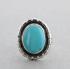 Southwestern Native American Sterling Silver Oval Turquoise Ring - Size 7.5