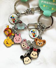 NEW Disney Mickey Minnie Piglet Winnie Duffy bear Keychain 2pcs Matel Keyrings
