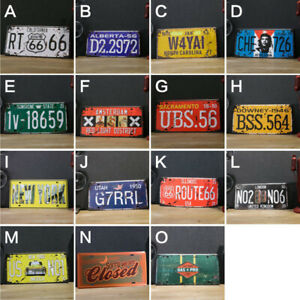 Vintage Car License Plate Wall Tin Sign Iron Metal Poster Home Bar Club Decor