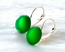 Irish Whiskey Drop Earrings - Recycled Jameson Bottle - Emerald Green Sea Glass