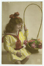 c 1920 Children Child SAILOR SUIT GIRL tinted French photo postcard