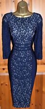 Exquisite PHASE EIGHT Navy Lace Cocktail Bodycon Dress UK 14 Wedding Races Party