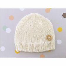 Hand Knitted Newborn 0000 Boy Girl Winter Ivory Beanie Hat, Aus Pure Wool