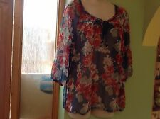 FAB LADIES BLUE FLORAL SHEER MARKS & SPENCER BLOUSE TIE NECK UK 10 IMMACULATE