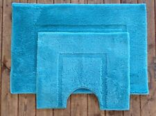 2 Piece Set Mat and Ped Mat in Aqua 100% Supersoft acrylic (non slip)
