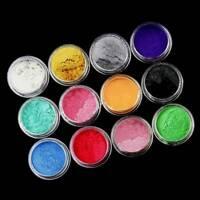 60g Pearl Pigment Powder Metal Sparkle Shimmer Paint 12 Colors/set Grit USA