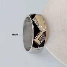 Bracelet Rigid Ouvrable Doré Email Jaune Art Deco Pavé Noir  CT6