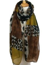 Stunning Scarf Mustard Yellow Brown Animal Block Print AW 19 180 x 90 O versize