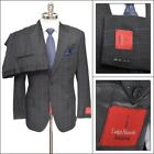 $1195 NWT LUIGI BIANCHI Super 110's Wool 2Btn Gray Windowpane Suit 52 6C 42 S