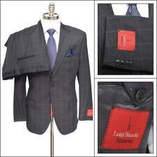 $1195 NWT LUIGI BIANCHI Super 110's Wool 2Btn Gray Windowpane Suit 52 6C 42 S