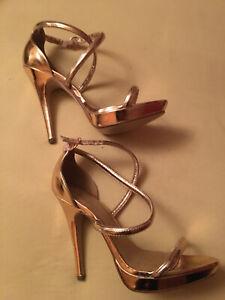 High Heels Pumps Abendschuhe Sandaletten gold Riemchen Highheels 12 cm