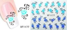 Blue Purple Flowers Nail Art Sticker Decal Decoration Manicure Water Transfer