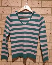Teal and Mauve Stripe Hooded Jumper, 'Agent NinetyNine' brand, Ladies S, Acrylic