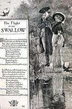 Bird Poetry FLIGHT of SPARROW w POEM 1886 Howard Pyle Antique Print Matted