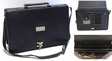 Mens Ladies Faux Leather Laptop Bag Executive Pilot Cross Body Busines Briefcase
