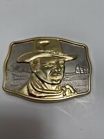 "JOHN WAYNE 1985 BELT BUCKLE .."" THE MAN OF THE GOLDEN WEST ""  No: 014634 MINT"