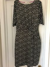 Ladies Boden spotted knee length lined ivory/black dress Size 12R used