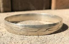 Vintage Old Pawn Native American Navajo Stamped Sterling Silver Bangle Bracelet