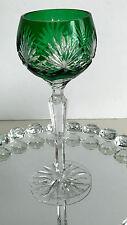1 AJKA CAROLINE  EMERALD GREEN CASED CUT TO CLEAR CRYSTAL WINE GOBLET