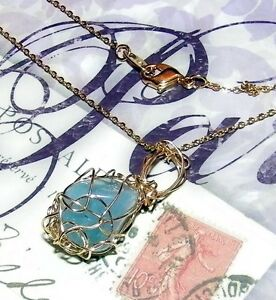 STUNNING HAND-CRAFTED GOLD-WIRE-WRAPPED AQUAMARINE PENDANT - 1-1/4 Inches