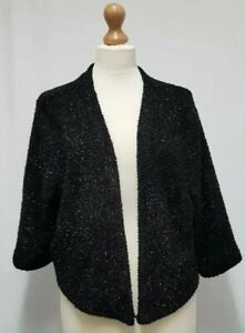 Womens New Look Black Bolaro Top Size 18 Plus Size Knitted Top Cardigan - C25