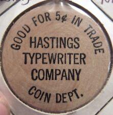 1961 Hastings Typewriter Company Hastings, NE Wooden Nickel - Token Nebraska
