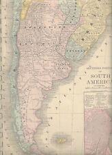 1888 Antique Map ARGENTINA, CHILE, Buenos Aires,