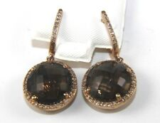 Round Brown Topaz & Diamond Halo Drop Lady's Earrings 14K Rose Gold 10.95Ct