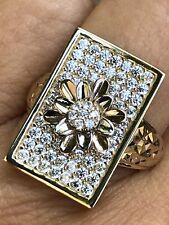 GOLD Flower Ring 14k yellow Rose White Tri Simulated Diamond 7 4 5 6 8 9 10 5.3g