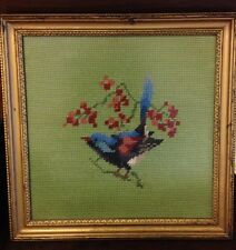 Needlepoint Blue Bird Shabby Gold Distressed Frame Cottage French Farmhouse Chic