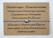 Wunscharmband Wünsch Dir was Armband Glücksarmband Glücksbringer Herz Rund Blau