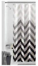 "Fabric Shower Curtain Tan Gray Black Ombre Zig Zag Chevron Print - 70"" x 72"""