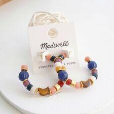 Madewell Beaded Moon Hoop Earrings Tiger Eye Semistone Silver Posts - NWT
