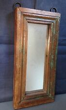 ANTIQUE/VINTAGE INDIAN WOODEN FURNITURE.  DISTRESSED TEAK MIRROR in FADED JADE.