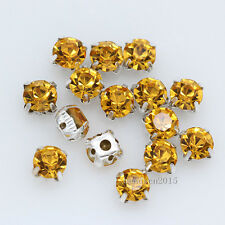72p 8mm ss38 faceted crystal glass Round stone Sew On Cup claw Rhinestone jewels
