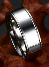 Band With Raised Rims Size 8 Lifelong Platinum/Steel Alloy 7.5Mm Wide Wedding