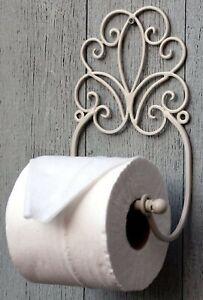 Metal Toilet Loo Roll Holder Cream Scroll Design Wall Mounted