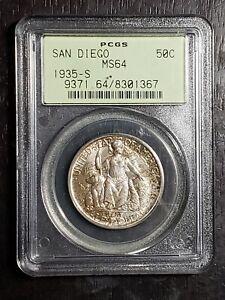 RARE 1935 - S San Diego Commemorative Half Dollar PCGS MS64 Green Grade