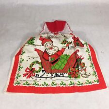 Vtg Mcm Linen Kitchen Tea Towel Apron Xmas Santa Sleigh Tree Bricbrac Ribbon Vgc