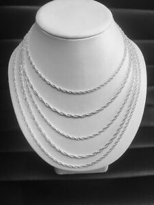 """Sterling Silver 24"""" Solid Rope Chain"""