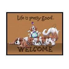 Cavalier King Charles Spaniel Life Is Good Cartoon Artist Floor Door Mat Rug