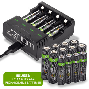 Venom Intelligent Charging Station plus 8 x AA & 8 x AAA Rechargeable Batteries