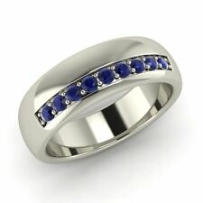 6 mm Classic Men's Wedding Ring With Blue Sapphire In Solid 14k White Gold