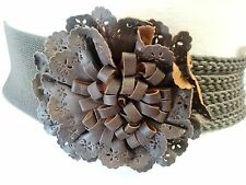 Women fashion brown elastic waist belt with knots and flower design size  xs s m