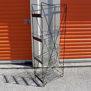 4 Tier Retail Store Display Shelf Wire Rack Display Black Merchandise Storage