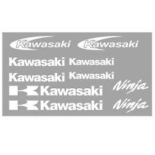 10 x Kawasaki Decals Stickers Badge. Ninja. Motorbike. Permanent Vinyl. White