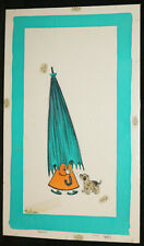 Girl with Teal Umbrella and Dog Original Greeting Card Painted Art by Thelma