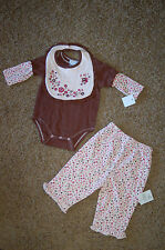 NWT Vitamins Baby Girl Brown Embroidered Flowers 3 piece Set Sz 6M Nice LQQK!
