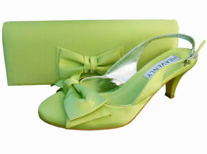 Ladies Wedding Party Low Heel Shoe Evening Shoes Diamante Lime Green Satin NEW