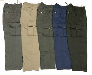 Mens Fleece Lined Thermal Combat Cargo Style Elasticated Waist Winter Trouser